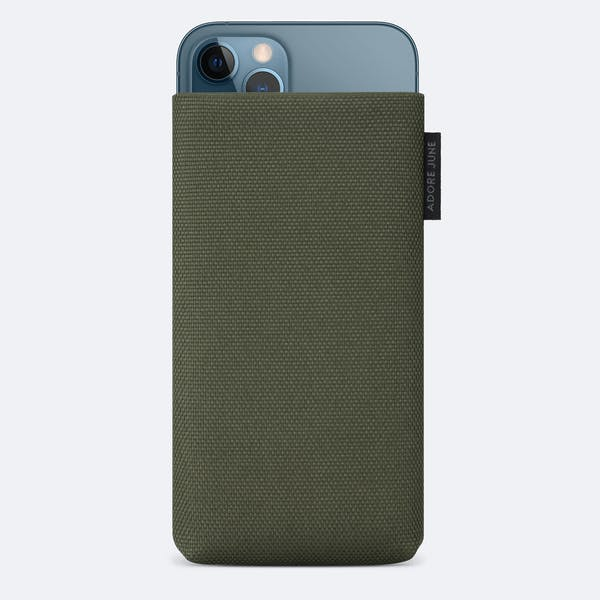 Image 1 of Adore June Classic Recycled 5.4 Inch Sleeve for Apple iPhone 12 mini Color Olive-Green