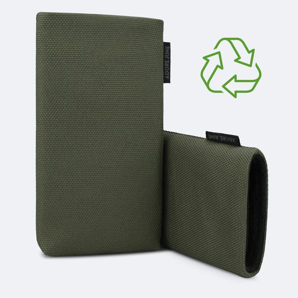Image 3 of Adore June Classic Recycled 5.4 Inch Sleeve for Apple iPhone 12 mini Color Olive-Green