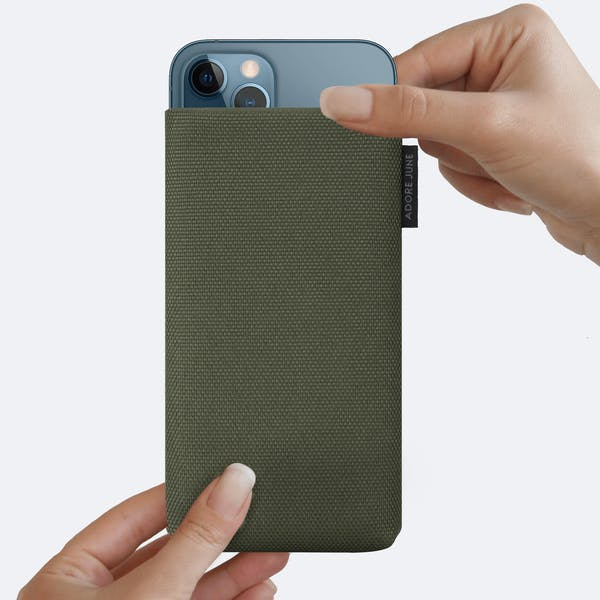 Image 4 of Adore June Classic Recycled 5.4 Inch Sleeve for Apple iPhone 12 mini Color Olive-Green